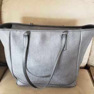 Used Coach Vertical Tote in Silver/Grey
